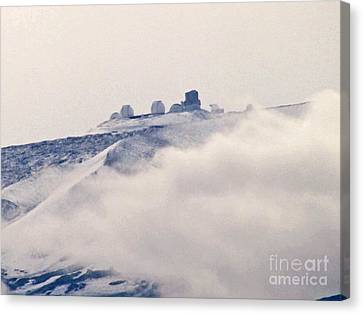 Mauna Kea Observatories With Snow Canvas Print by Bette Phelan