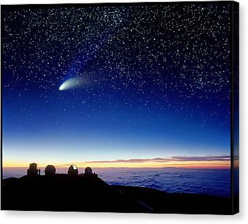 Mauna Kea Observatory & Comet Hale-bopp Canvas Print