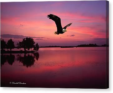 Canvas Print featuring the photograph Mauve Sundown Eagle  by Randall Branham