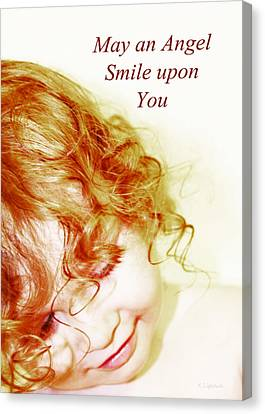 May An Angel Smile Upon You - Greeting Card And Print Canvas Print by Kerri Ligatich