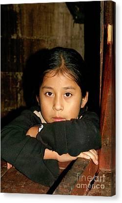 Canvas Print featuring the photograph Maya Girl Coban Guatemala by John  Mitchell