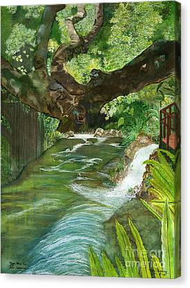 Canvas Print featuring the painting Maya Ubud Tree Bali Indonesia by Melly Terpening