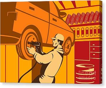 Mechanic Automotive Repairman Retro Canvas Print by Aloysius Patrimonio