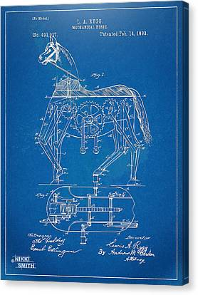Mechanical Horse Toy Patent Artwork 1893 Canvas Print by Nikki Marie Smith