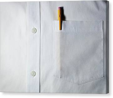 Mechanical Pencil In White Shirt Pocket. Canvas Print by Ballyscanlon
