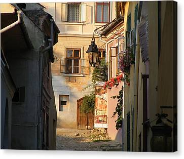 Canvas Print featuring the painting Medieval City by Bogdan Floridana Oana
