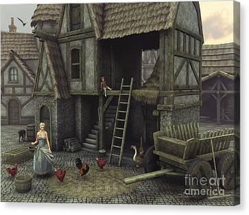Geese Canvas Print - Medieval Idyll by Jutta Maria Pusl