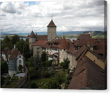Chateau Canvas Print - Medieval Murten Switzerland by Marilyn Dunlap