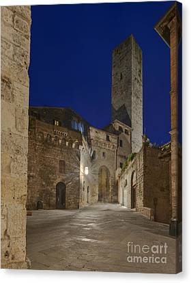 Medieval Street At Twilight Canvas Print by Rob Tilley