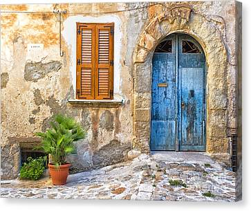 Mediterranean Door Window And Vase Canvas Print
