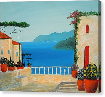 Canvas Print featuring the painting Mediterranean Fantasy by Larry Cirigliano