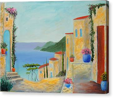 Canvas Print featuring the painting Mediterranean Haven by Larry Cirigliano