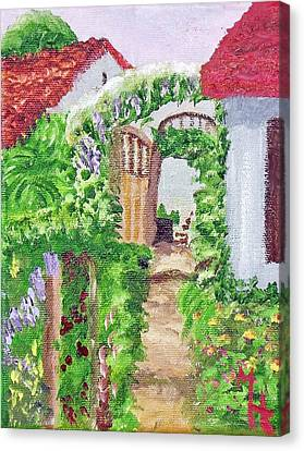 Canvas Print featuring the painting Mediterranean Walkway by Margaret Harmon