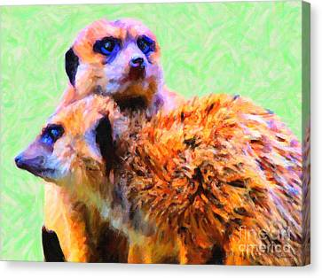 Meerkats . 7d4176 Canvas Print by Wingsdomain Art and Photography