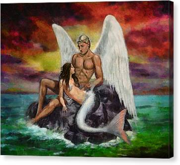 Angel Mermaids Ocean Canvas Print - Meeting In The Middle by Christopher Lane