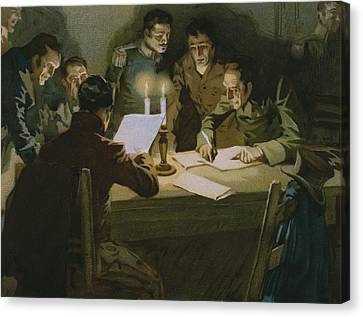 Meeting Of The First Partisans Resisting The Occupiers Canvas Print by Italian School