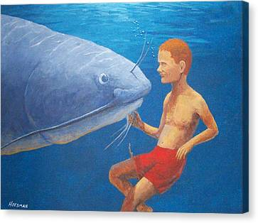 Meeting With The Giant Catfish Canvas Print by John Hoesman