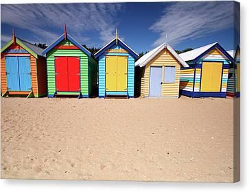 Melbourne Beach Huts In Australia Canvas Print by Timphillipsphotos