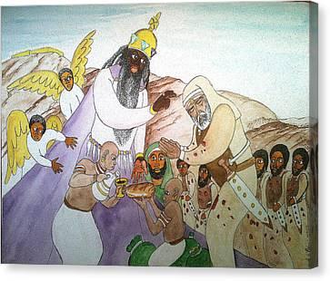 Melchizedek's  Blessing Of Abram Canvas Print by Derek Perkins