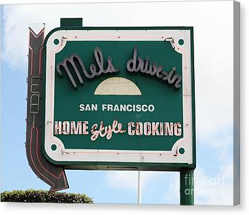 Mel's Drive-in Diner Sign In San Francisco - 5d18046 Canvas Print by Wingsdomain Art and Photography