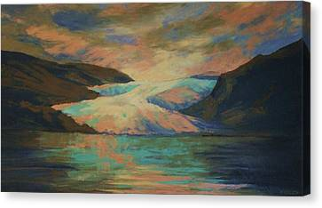 Mendenhall Glacier Canvas Print by Peggy Wrobleski