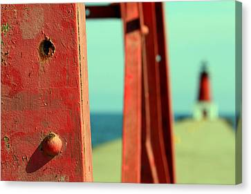 Menominee Lighthouse With Tower Detail Canvas Print by Mark J Seefeldt