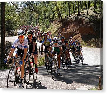 Men's Pro Peloton Takes The Curves Canvas Print by Feva  Fotos