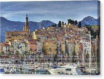 Menton City Skyline French Riviera Canvas Print by Jean-Pierre Pieuchot