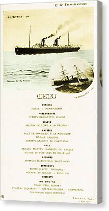 Menu From La Navarre Canvas Print by Photo Researchers