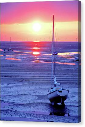 Meols Beach On The Wirral Canvas Print by Duncan Rowe
