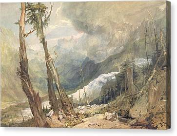 Mere De Glace - In The Valley Of Chamouni Canvas Print by Joseph Mallord William Turner