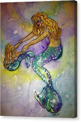 Mermaid And Child Canvas Print by Gloria Avner