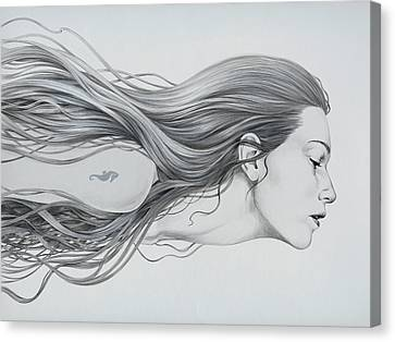 Woman Drawings Drawings Canvas Print - Mermaid by Diego Fernandez