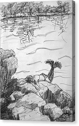 Canvas Print featuring the painting Mermaid On The Rocks by Gretchen Allen