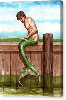 Merman On The Dock Canvas Print by Bruce Lennon
