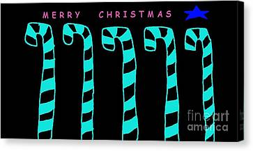Jordan Canvas Print - Merry Christmas Canes Turquoise by Jeannie Atwater Jordan Allen