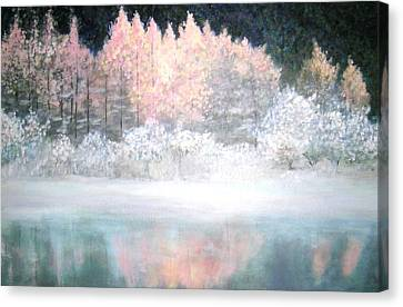Canvas Print featuring the painting Merry Christmas by Marie-Line Vasseur