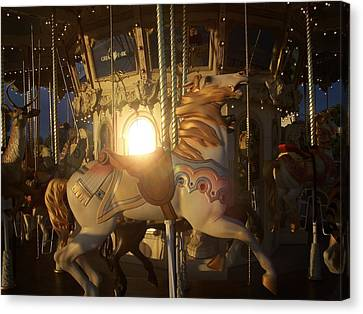Merry Go Round At Sunset Canvas Print by Steve Huang