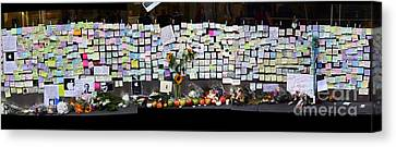 Steve Jobs Memorial Canvas Print - Messages To Steve Jobs . Rip . San Francisco Apple Store Memorial . Left Side . October 5 2011 by Wingsdomain Art and Photography