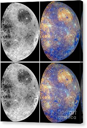 Messenger Image Of Mercury Canvas Print by Nasa