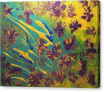 Metallic Waterlilies Canvas Print by Sharon  De Vore