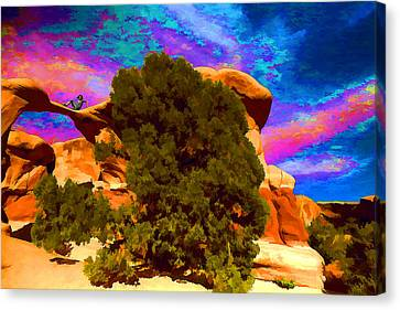 Canvas Print featuring the photograph Metate Arch Dream by Gregory Scott