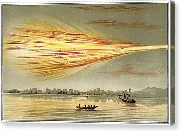 Meteorite Explosion, Historical Artwork Canvas Print by Detlev Van Ravenswaay