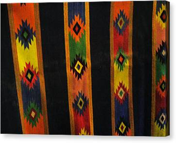 Mexican Throw Rug Colorful Canvas Print by Unique Consignment