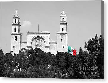 Canvas Print featuring the photograph Mexico Flag On Merida Cathedral San Ildefonso Town Square Color Splash Black And White by Shawn O'Brien