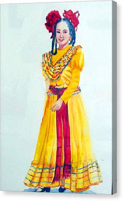 Mexico Srta In Yellow Canvas Print by Estela Robles