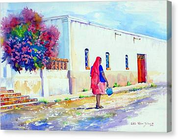 Mexico Woman With Blue Bucket Canvas Print by Estela Robles