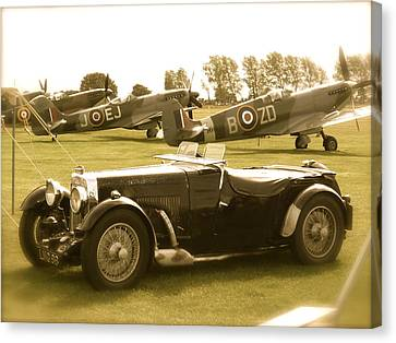 Canvas Print featuring the photograph Mg And Spitfires by John Colley