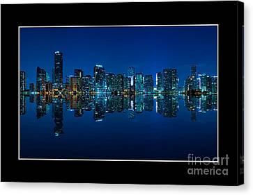 Miami Skyline Night Panorama Canvas Print by Carsten Reisinger