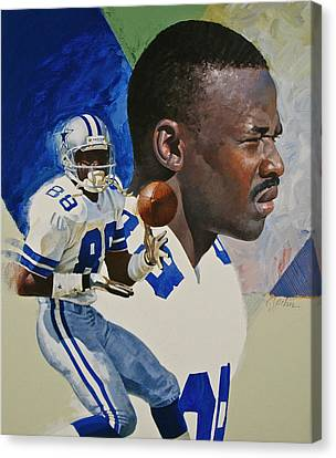 Canvas Print featuring the painting Michael Irvin by Cliff Spohn